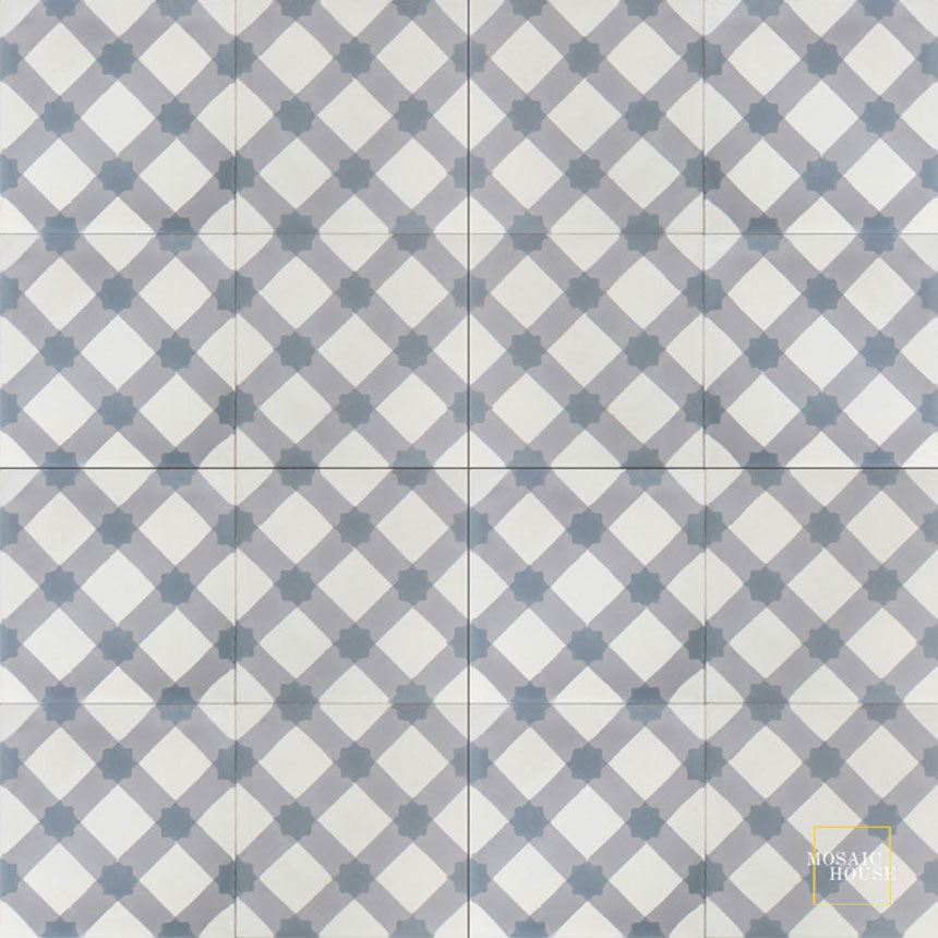 Mosaic House Moroccan tile Anemone C14-24-33 White Silver, gray Gray  cement, encaustic, field, pattern, star