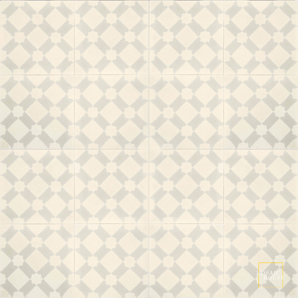 Mosaic House Moroccan tile Anemone C3-42 Cream, white Vanilla, gray  cement, encaustic, field, pattern
