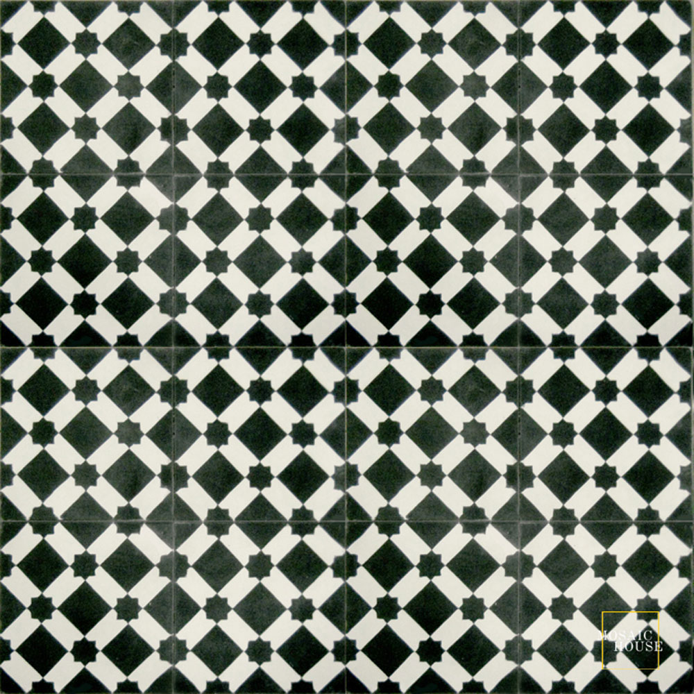 Mosaic House Moroccan tile Anemone C4-14 Black White  cement, encaustic, field, pattern
