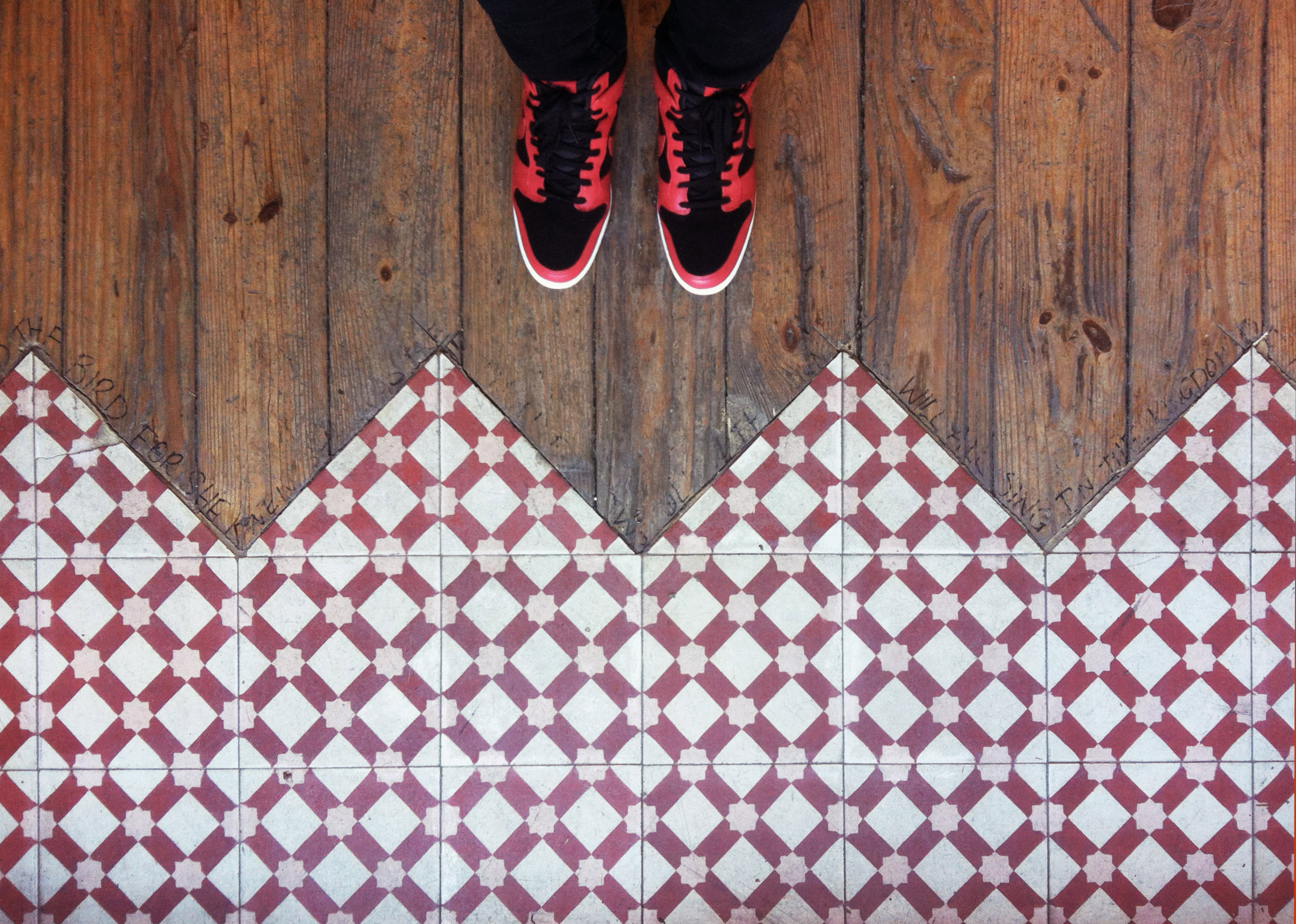 Mosaic House Moroccan tile Anemone C14-10-20 White Brick Red Bisque, pink  cement, encaustic, field, pattern