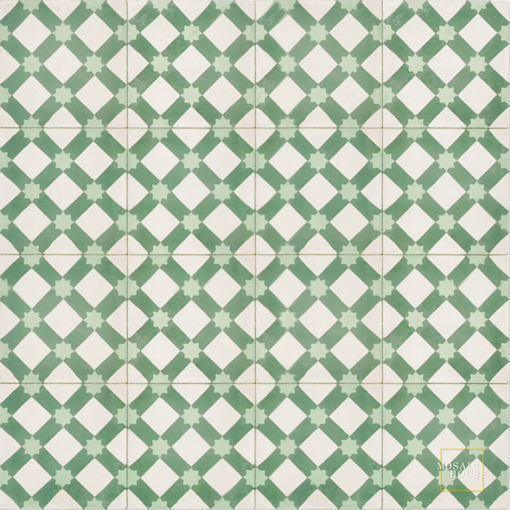 Mosaic House Moroccan tile Anemone C14-27-16 White Green Pale Jade, green  cement, encaustic, field, pattern