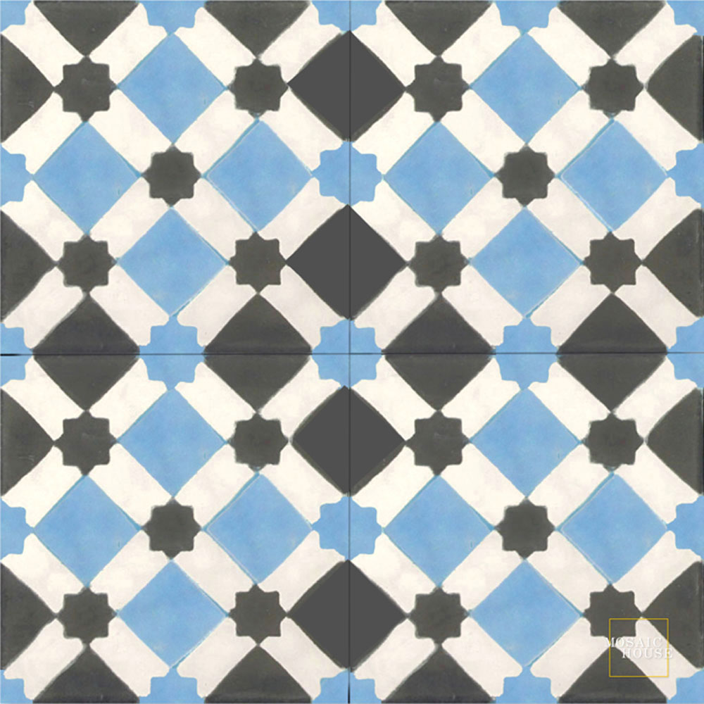 Mosaic House Moroccan tile Anemone C11-14-4 Blue White Black  cement, encaustic, field, pattern