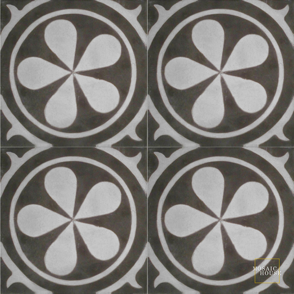 Mosaic House Moroccan tile Aureola C4-24 Black Silver, gray  cement, encaustic, field, pattern circles