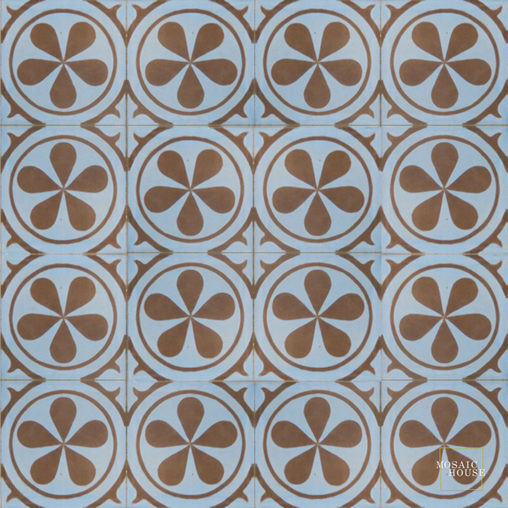 Mosaic House Moroccan tile Aureola C6-5 Pacific Blue Chocolate, brown  cement, encaustic, field, pattern