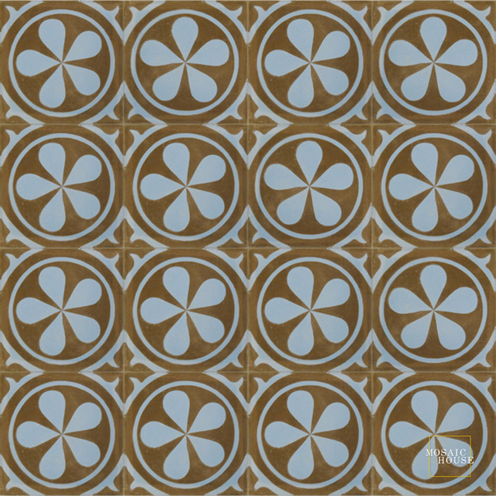 Mosaic House Moroccan tile Aureola C5-6 Chocolate, brown Pacific Blue  cement, encaustic, field, pattern