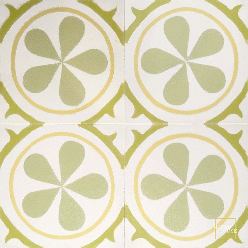 Mosaic House Moroccan tile Aureola C14-2-35-37 White Yellow Mint, green Lime Green  cement, encaustic, field, pattern