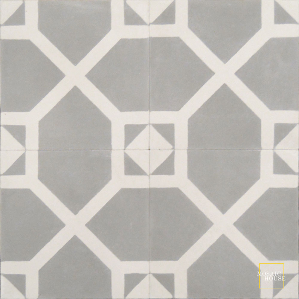 Mosaic House Moroccan tile Bordeaux C24-14 Silver, gray White  cement, encaustic, field, pattern
