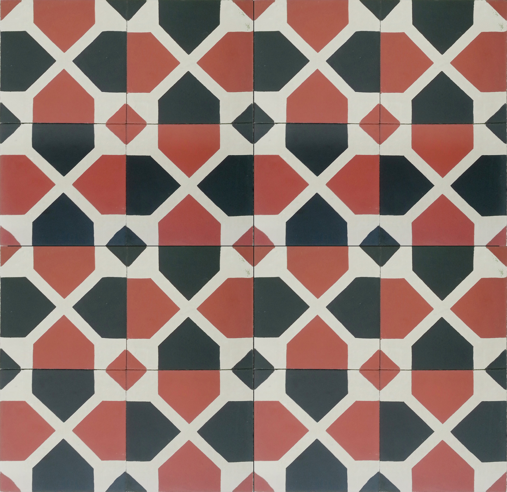 Mosaic House Moroccan tile Bordeaux C10-4-38 Brick Red Black Slate, gray  cement, encaustic, field, pattern