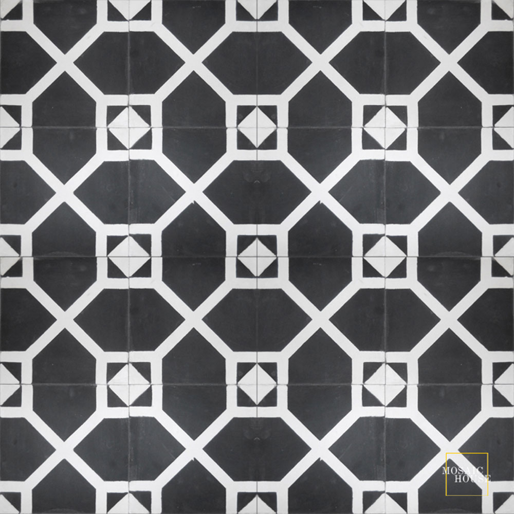 Mosaic House Moroccan tile Bordeaux C4-14 Black White  cement, encaustic, field, pattern