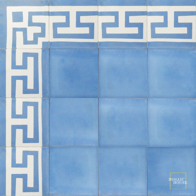 Mosaic House Moroccan tile Aralia Border C14-6 White Pacific Blue  cement, encaustic, border