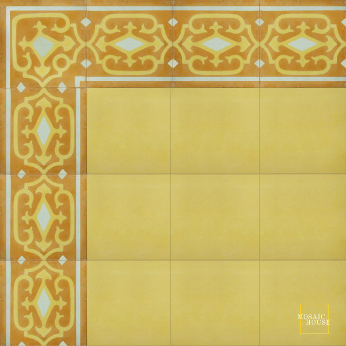 Mosaic House Moroccan tile Vitis Border C28-16-1 Desert Sand, orange Pale Jade, green  cement, encaustic, border