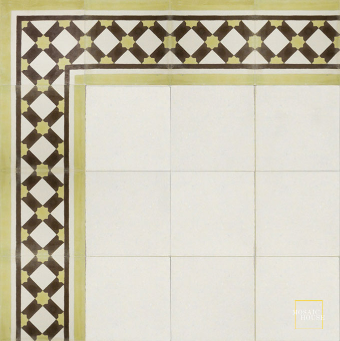 Mosaic House Moroccan tile Anemone Border C14-37-5 White Lime Green Chocolate, brown  cement, encaustic, border