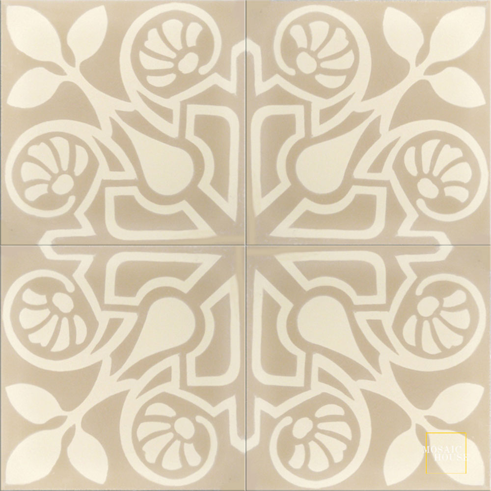 Mosaic House Moroccan tile Brooklyn C31-3 Almond, tan, beige Cream, white  cement, encaustic, field, pattern