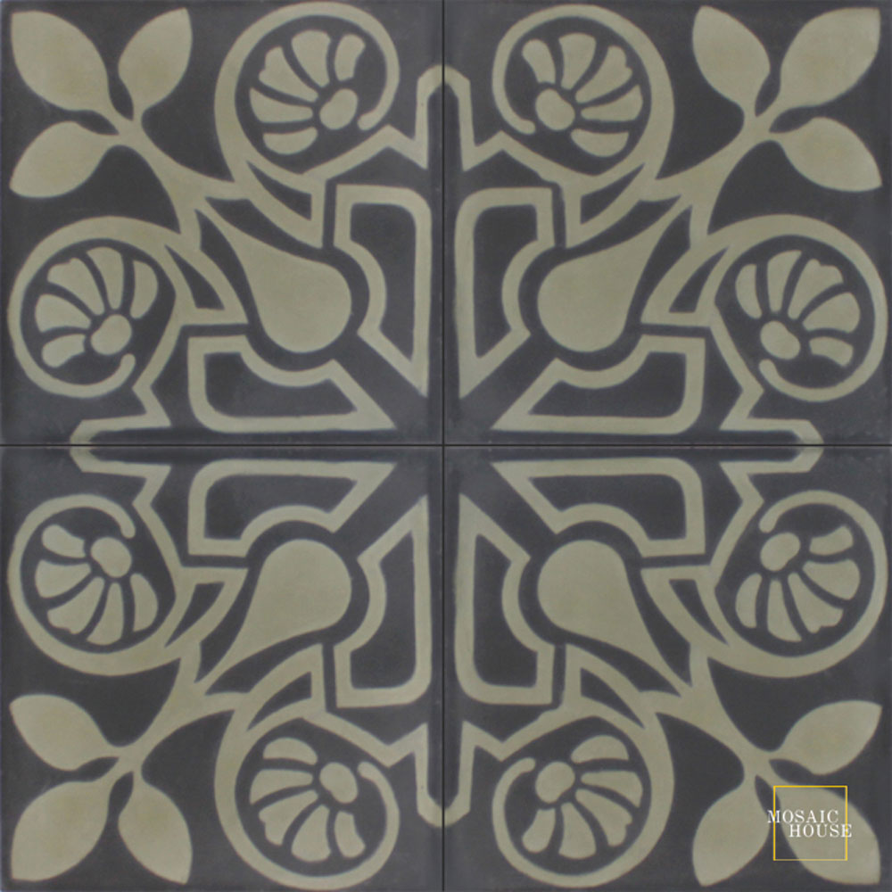 Mosaic House Moroccan tile Brooklyn C4-34 Black Aged Copper, gray  cement, encaustic, field, pattern
