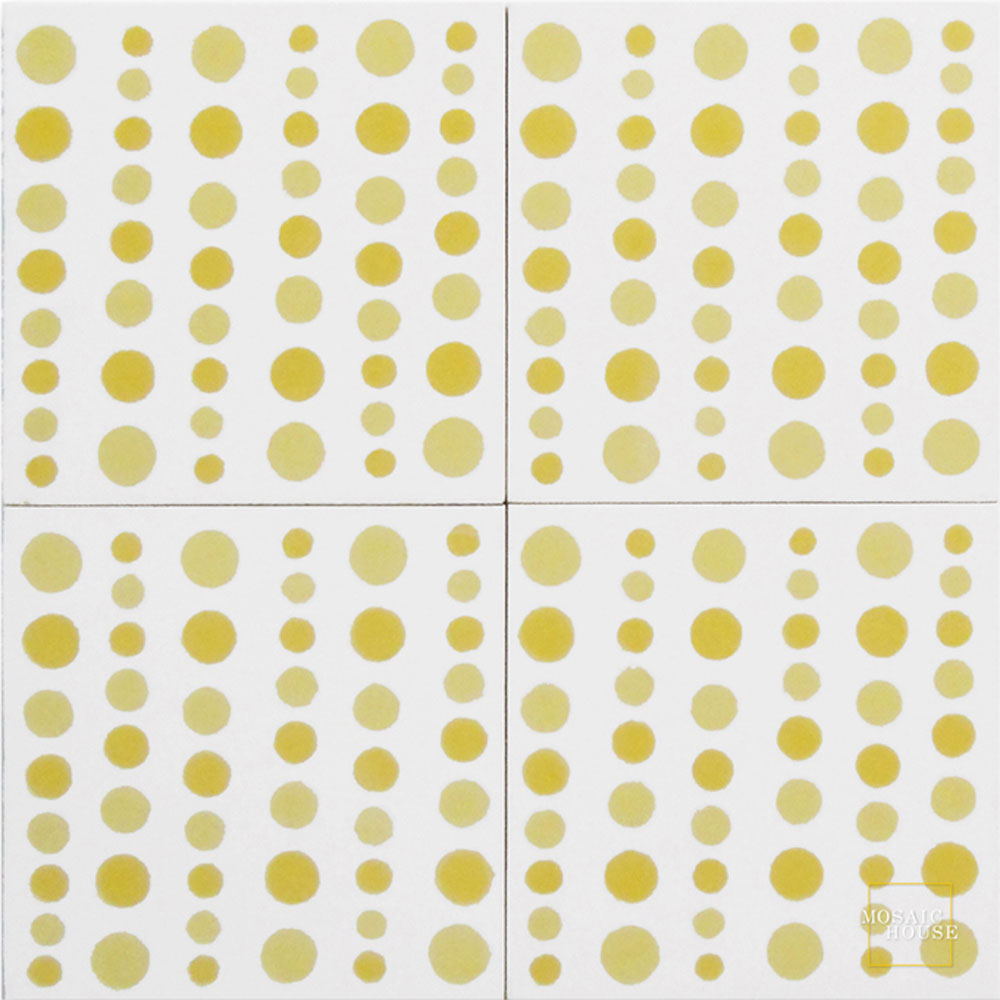 Mosaic House Moroccan tile Bubbles C14-2-15 White Yellow Ochre, yellow, orange  cement, encaustic, field, pattern