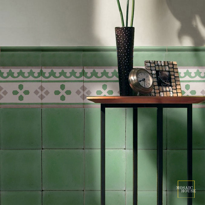 Mosaic House Moroccan tile Bullnose C C30 Spring Green Spring Green  solid cement, encaustic, trim, bullnose