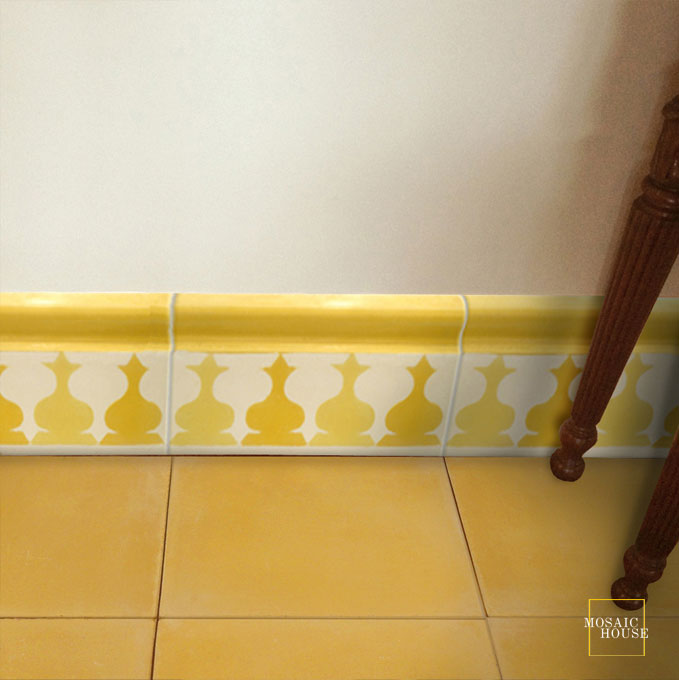 Mosaic House Moroccan tile Sharafa Bullnose C2-14 Yellow White  cement, encaustic, trim, bullnose, quarter round