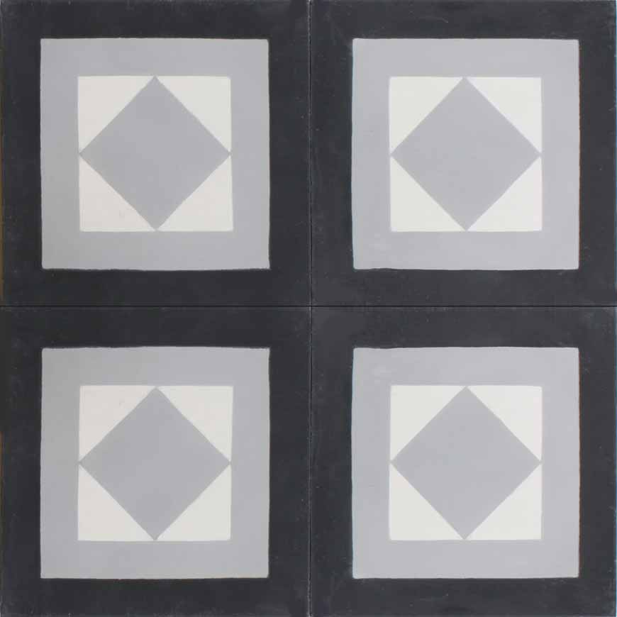 Mosaic House Moroccan tile Cara F C4-14-24 Black White Silver, gray  cement, encaustic, field, pattern