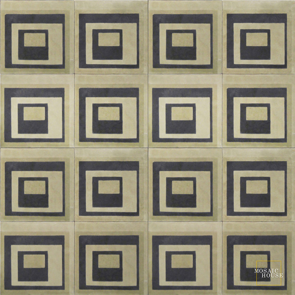 Mosaic House Moroccan tile Carre C4-34-36 Black Aged Copper, gray Ash Gray, gray  cement, encaustic, field, pattern