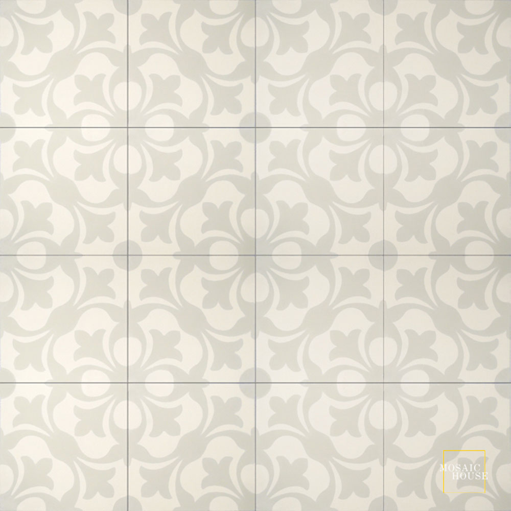 Mosaic House Moroccan tile Chelsea C3-42 Cream, white Vanilla, gray  cement, encaustic, field, pattern