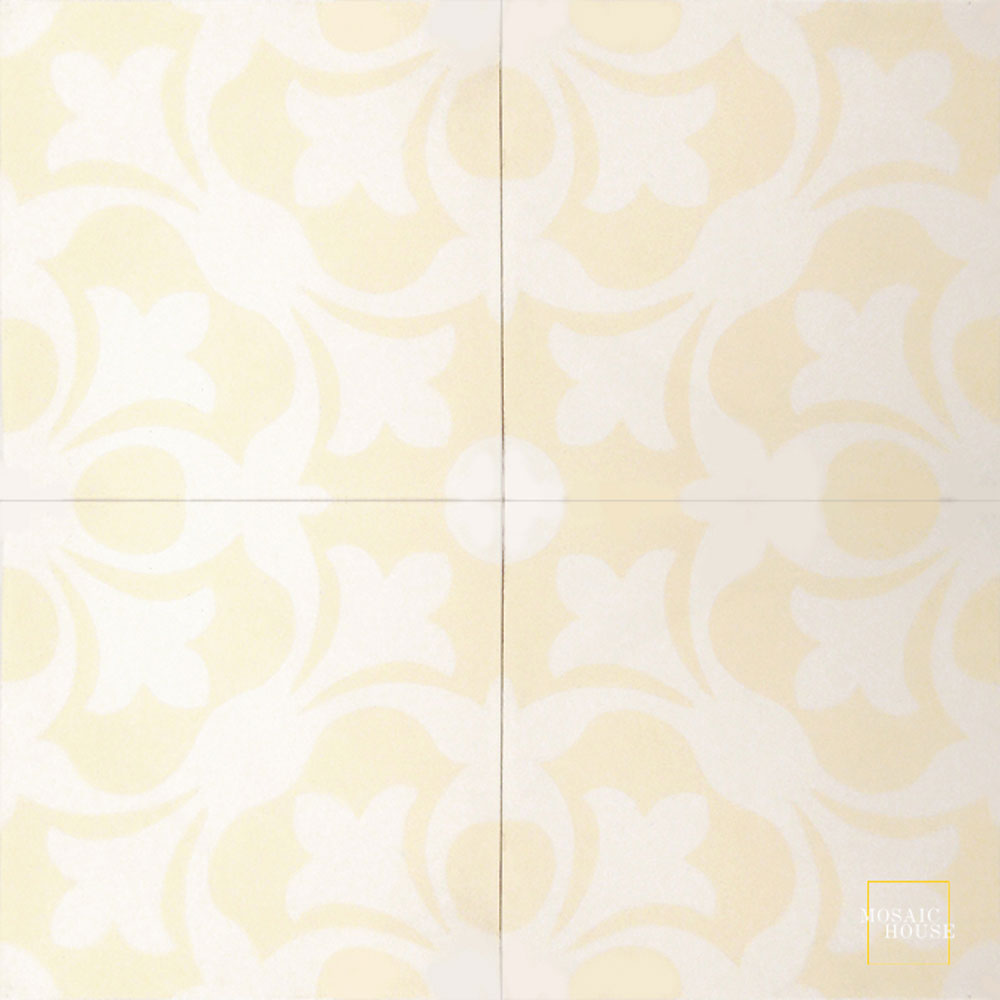 Mosaic House Moroccan tile Chelsea C3-14 Cream, white White  cement, encaustic, field, pattern