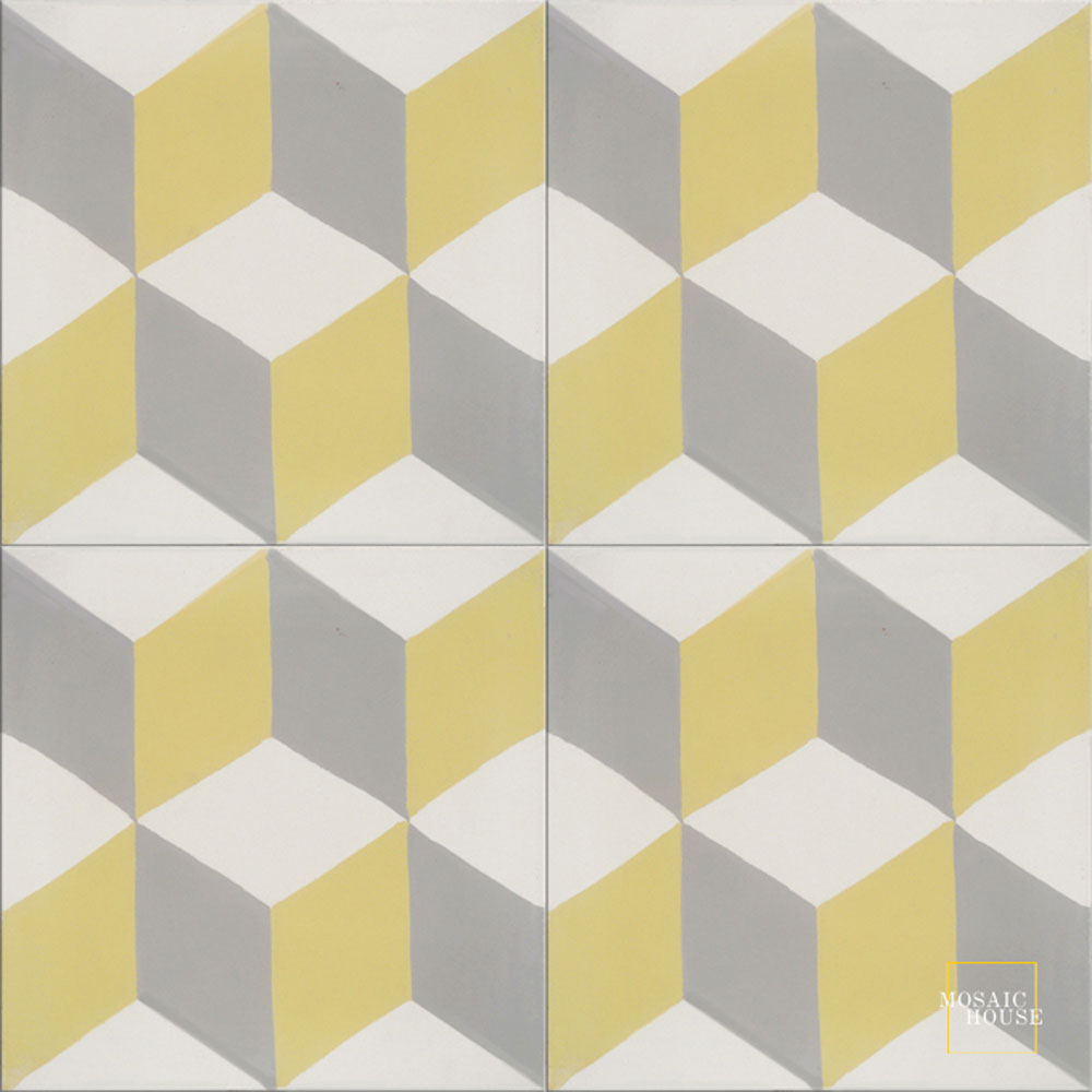 Mosaic House Moroccan tile Cubes C14-24-2 White Silver, gray Yellow  cement, encaustic, field, pattern classic geometric modern