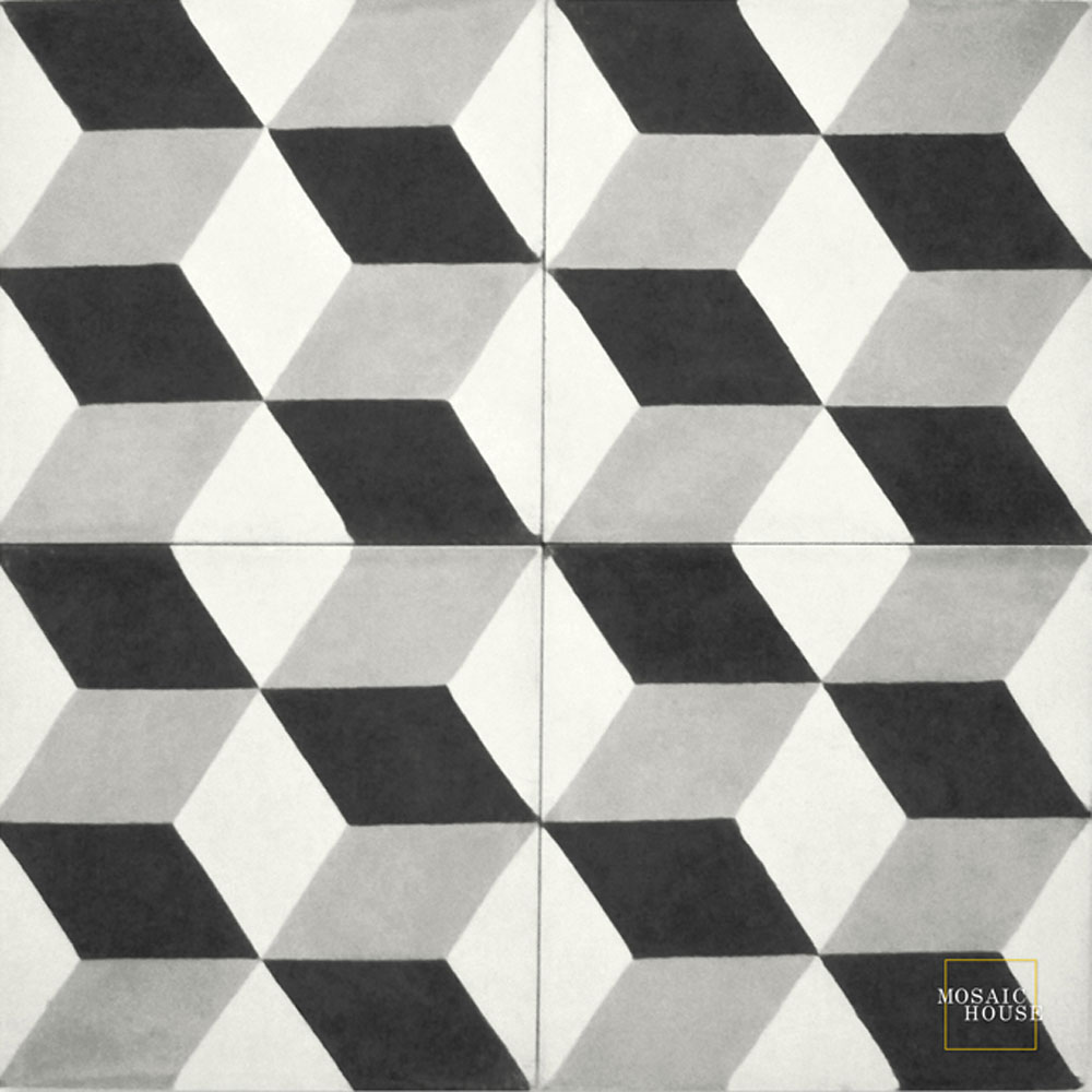 Mosaic House Moroccan tile Cubes C14-24-4 White Silver, gray Black  cement, encaustic, field, pattern
