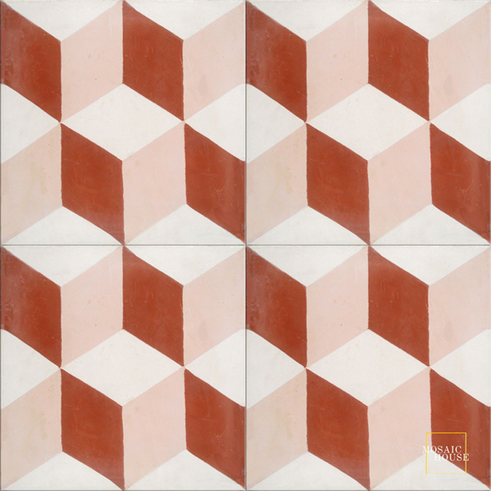 Mosaic House Moroccan tile Cubes C14-10-20 White Brick Red Bisque, pink  cement, encaustic, field, pattern