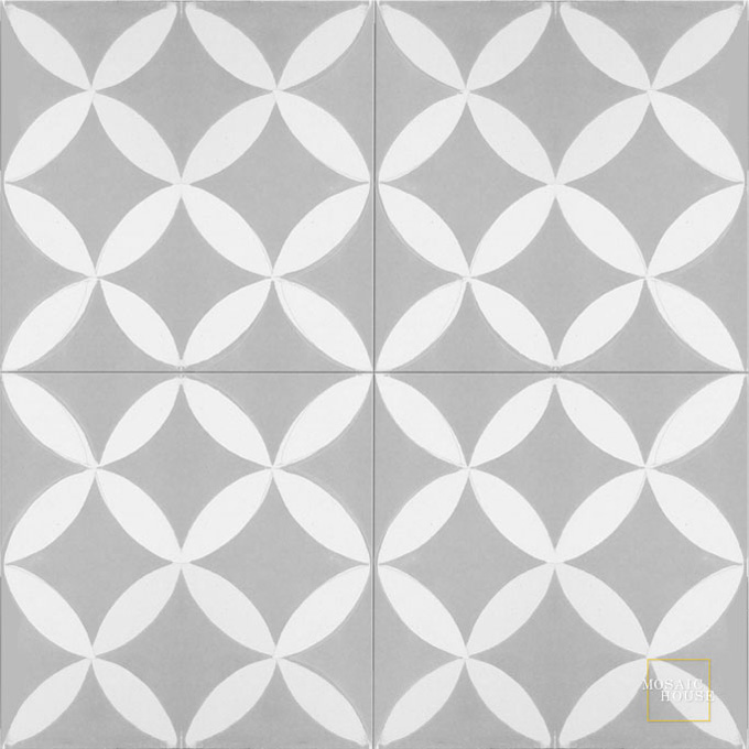 Mosaic House Moroccan tile Daisy C24-14 Silver, gray White  cement, encaustic, field, pattern