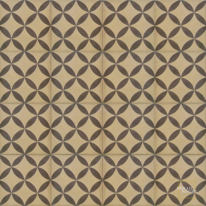 Mosaic House Moroccan tile Daisy C31-5 Almond, tan, beige Chocolate, brown  cement, encaustic, field, pattern