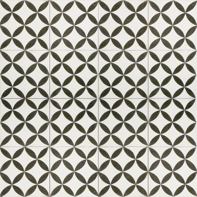 Mosaic House Moroccan tile Daisy C14-4 White Black  cement, encaustic, field, pattern