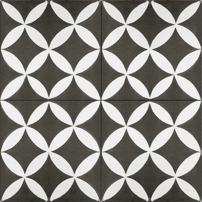 Mosaic House Moroccan tile Daisy C4-14 Black White  cement, encaustic, field, pattern