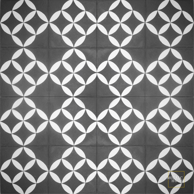 Mosaic House Moroccan tile Daisy Mini C4-14 Black White  cement, encaustic, field, pattern