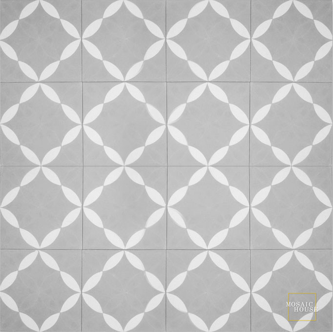 Mosaic House Moroccan tile Daisy Grande C24-14 Silver, gray White  cement, encaustic, field, pattern