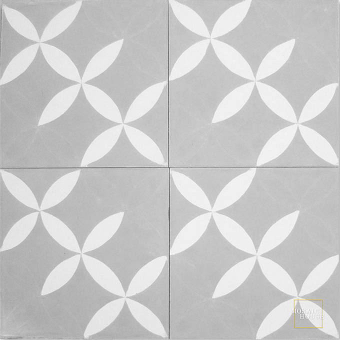 Mosaic House Moroccan tile Daisy Flower C24-14 Silver, gray White  cement, encaustic, field, pattern