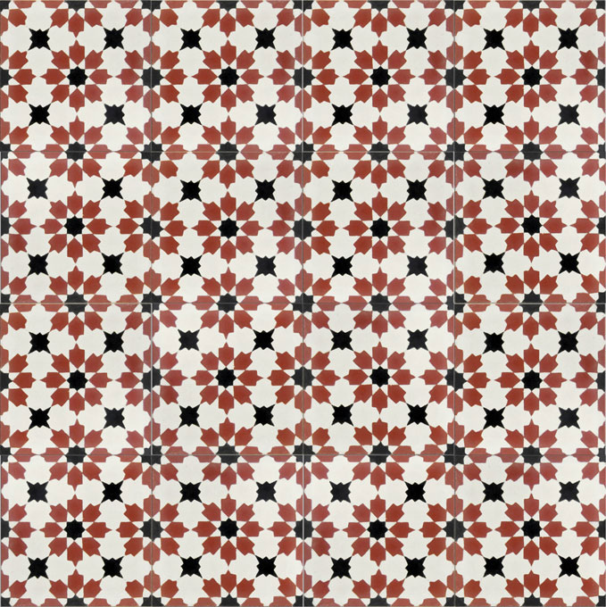 Mosaic House Moroccan tile Fassia C14-10-4 White Brick Red Black  cement, encaustic, field, pattern