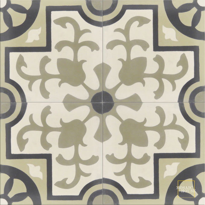 Mosaic House Moroccan tile Jardin C14-42-36-4 White Vanilla, gray Ash Gray, gray Black  cement, encaustic, field, pattern classic floral
