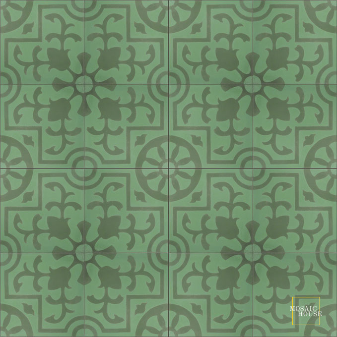 Mosaic House Moroccan tile Jardin C30-27 Spring Green Green  cement, encaustic, field, pattern