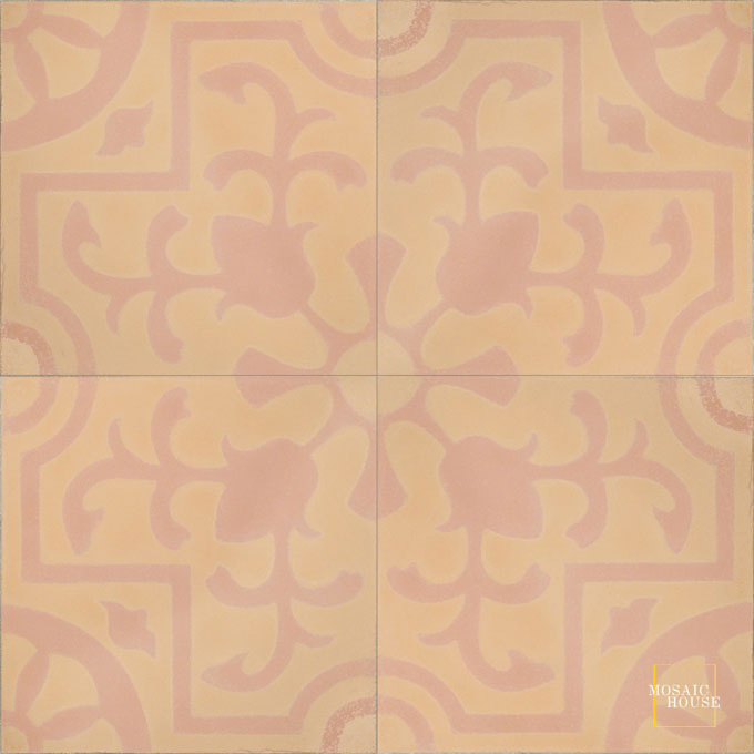 Mosaic House Moroccan tile Jardin C7-21 Pale Orange Pale Salmon, pink  cement, encaustic, field, pattern