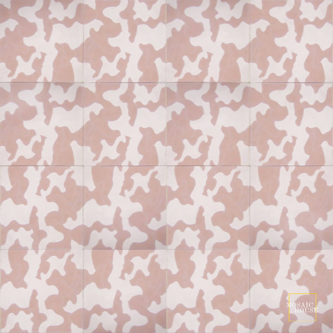 Mosaic House Moroccan tile Kamo C20-21 Bisque, pink Pale Salmon, pink  cement, encaustic, field, pattern modern