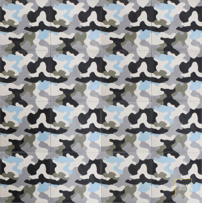 Mosaic House Moroccan tile Kamo C14-4-24-34-22 White Black Silver, gray Aged Copper, gray Powder Blue  cement, encaustic, field, pattern