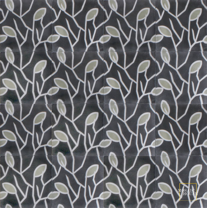 Mosaic House Moroccan tile Lawa C4-24-34 Black Silver, gray Aged Copper, gray  cement, encaustic, field, pattern