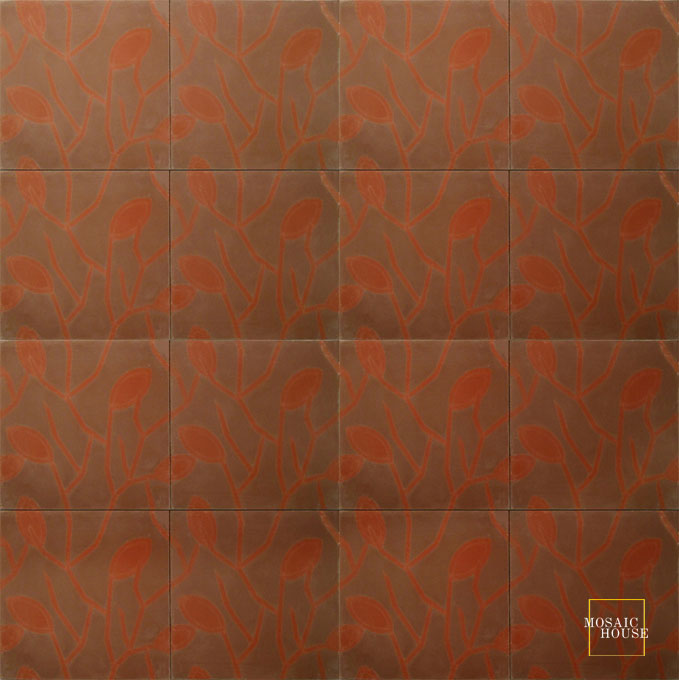 Mosaic House Moroccan tile Lawa C26-10 Brown Brick Red  cement, encaustic, field, pattern