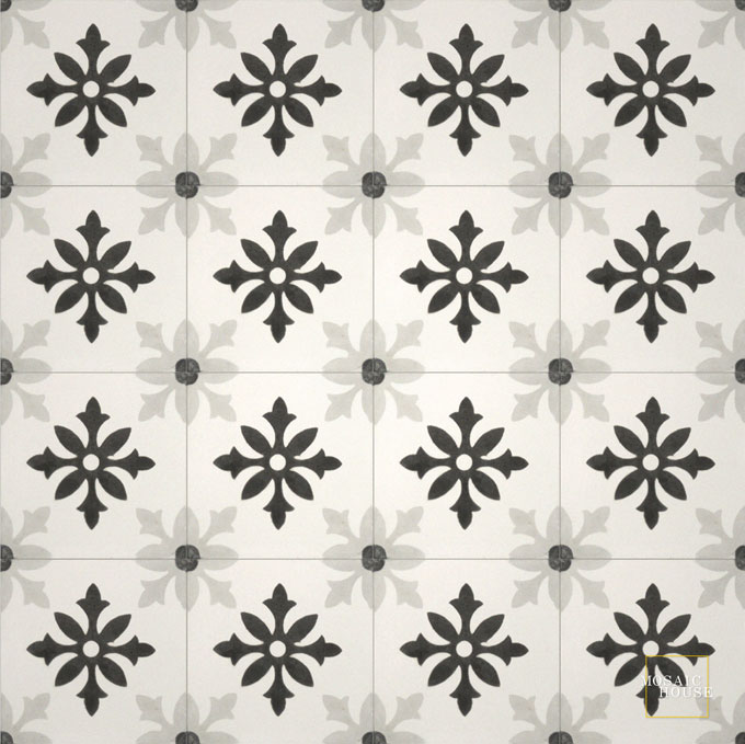 Mosaic House Moroccan tile Little Carlow C14-4-24 White Black Silver, gray  cement, encaustic, field, pattern
