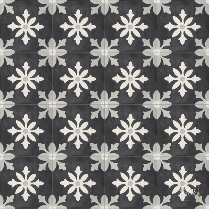 Mosaic House Moroccan tile Little Carlow C4-14-24 Black White Silver, gray  cement, encaustic, field, pattern