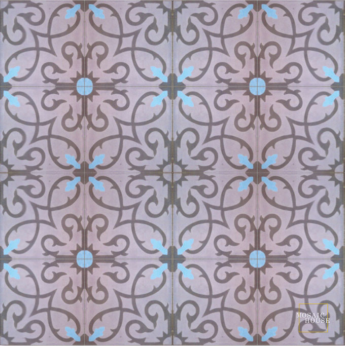 Mosaic House Moroccan tile Lucifer C12-5-6 Winter Violet, purple Chocolate, brown Pacific Blue  cement, encaustic, field, pattern