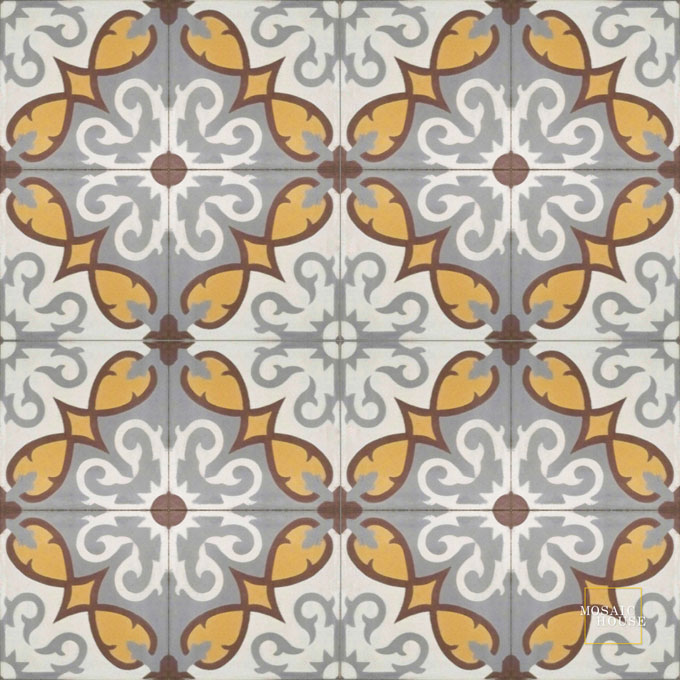 Mosaic House Moroccan tile Lucifer C14-24-26-9 White Silver, gray Brown Burnt Ochre, orange  cement, encaustic, field, pattern