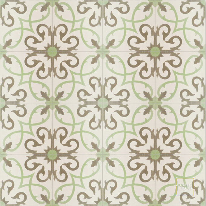 Mosaic House Moroccan tile Lucifer C14-8-34 White Pistachio, green Aged Copper, gray  cement, encaustic, field, pattern