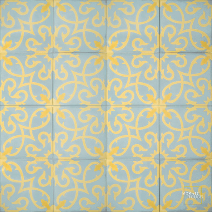 Mosaic House Moroccan tile Lucifer C39-2-15 Sky Blue Yellow Ochre, yellow, orange  cement, encaustic, field, pattern