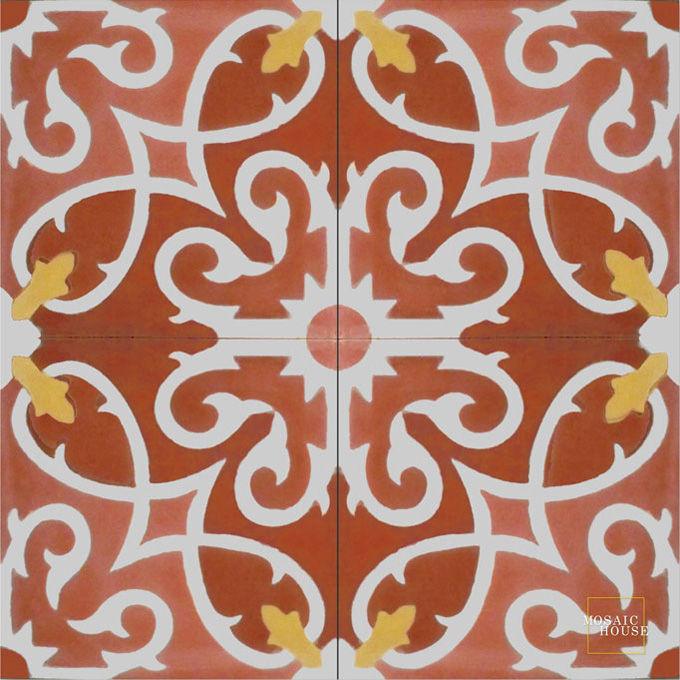Mosaic House Moroccan tile Lucifer C10-25-14-9 Brick Red Indian Red White Burnt Ochre, orange  cement, encaustic, field, pattern